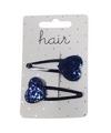 Blauwe haarspeldjes met glitter hartje