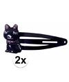Zwarte haarspeldjes met kat/poes
